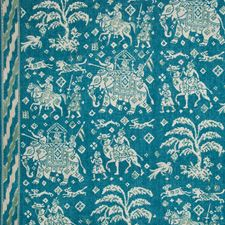 Teal/Green Animal Drapery and Upholstery Fabric by Brunschwig & Fils