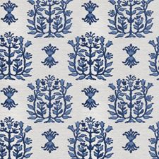 Cobalt Leaves Drapery and Upholstery Fabric by Stroheim