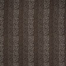 Coffee Geometric Drapery and Upholstery Fabric by S. Harris