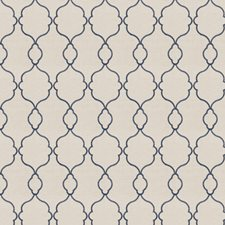 Blue Embroidery Drapery and Upholstery Fabric by Trend