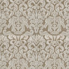 Shimmering Taupe Damask Drapery and Upholstery Fabric by Fabricut
