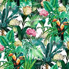 Tropical Bloom Drapery and Upholstery Fabric by Scalamandre