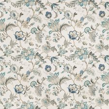 White/Blue/Beige Botanical Drapery and Upholstery Fabric by Kravet