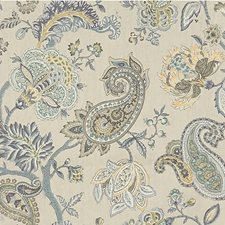 Beige/Grey/Teal Botanical Drapery and Upholstery Fabric by Kravet