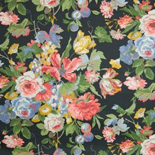 Licorice Floral Drapery and Upholstery Fabric by Greenhouse
