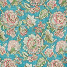 Azure Floral Drapery and Upholstery Fabric by Greenhouse
