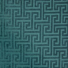 Teal Geometric Drapery and Upholstery Fabric by Greenhouse