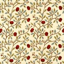 Blue/Red Embroidery Drapery and Upholstery Fabric by G P & J Baker
