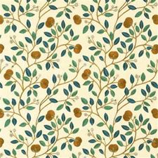 Bronze/Teal Embroidery Drapery and Upholstery Fabric by G P & J Baker