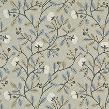 Aqua/Cream Embroidery Drapery and Upholstery Fabric by G P & J Baker