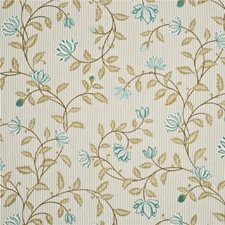 Aqua/Silver Embroidery Drapery and Upholstery Fabric by G P & J Baker