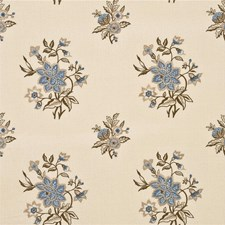 Indigo/Sand Embroidery Drapery and Upholstery Fabric by G P & J Baker