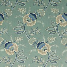 Teal/Indigo Embroidery Drapery and Upholstery Fabric by G P & J Baker