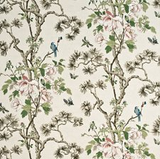 Cream/Pink/Green Animal Drapery and Upholstery Fabric by G P & J Baker
