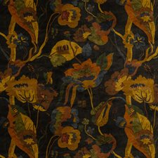 Charcoal Botanical Drapery and Upholstery Fabric by G P & J Baker