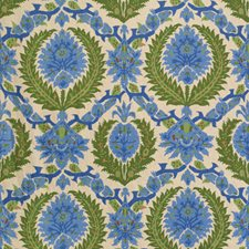 Canton Blue/Green Damask Drapery and Upholstery Fabric by Brunschwig & Fils