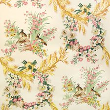 Red Blue-Green Cream Print Drapery and Upholstery Fabric by Brunschwig & Fils