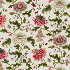 Multi On White Botanical Drapery and Upholstery Fabric by Brunschwig & Fils
