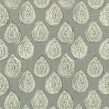 Grey/White/Light Grey Paisley Drapery and Upholstery Fabric by Kravet