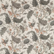 White/Grey/Coral Botanical Drapery and Upholstery Fabric by Kravet