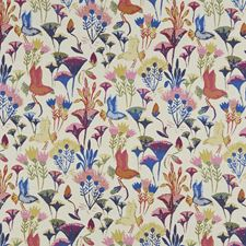 Blue/Multi/Pink Traditional Drapery and Upholstery Fabric by JF