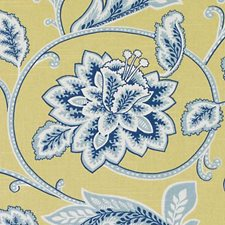 Blue/Yellow Leaf Drapery and Upholstery Fabric by Duralee