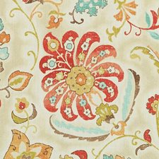 Papaya/Sage Floral Large Drapery and Upholstery Fabric by Duralee
