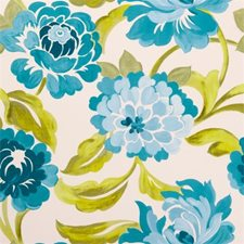 Aqua Floral Large Drapery and Upholstery Fabric by Clarke & Clarke