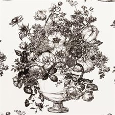 Black/White Floral Stylized Drapery and Upholstery Fabric by Clarke & Clarke