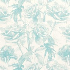 Aqua Floral Medium Drapery and Upholstery Fabric by Clarke & Clarke