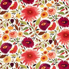 Autumn Floral Large Drapery and Upholstery Fabric by Clarke & Clarke