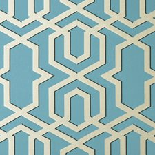 Aqua Geometric Drapery and Upholstery Fabric by Clarke & Clarke
