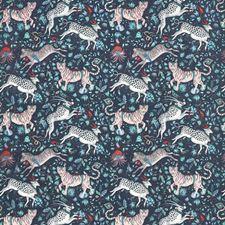 Navy Animal Drapery and Upholstery Fabric by Clarke & Clarke