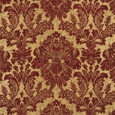 Terracotta/Gold Damask Drapery and Upholstery Fabric by Mulberry Home