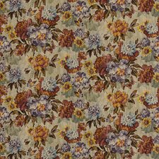 Red/Plum Botanical Drapery and Upholstery Fabric by Mulberry Home