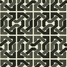Black/Grey Geometric Drapery and Upholstery Fabric by Groundworks