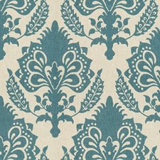 Teal Damask Drapery and Upholstery Fabric by Groundworks