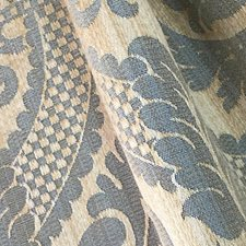 Beige/Bleu Drapery and Upholstery Fabric by Scalamandre