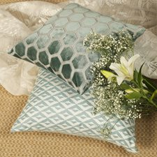 Blue/Teal Geometric Drapery and Upholstery Fabric by JF