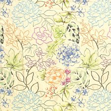 Apricot/Blues/Cream Drapery and Upholstery Fabric by Scalamandre