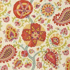 White/Burgundy/Red Print Drapery and Upholstery Fabric by Kravet