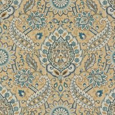 Teal/Beige/Brown Ethnic Drapery and Upholstery Fabric by Kravet