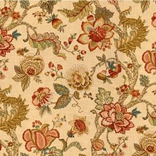 Beige/Red/Green Botanical Drapery and Upholstery Fabric by Kravet