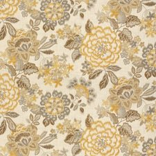 White/Yellow/Brown Botanical Drapery and Upholstery Fabric by Kravet