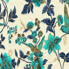 Turquoise Indigo Cream Drapery and Upholstery Fabric by RM Coco