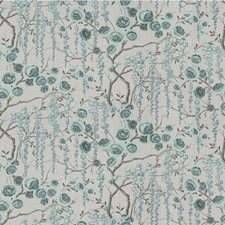 Aquamarine Botanical Drapery and Upholstery Fabric by Kravet
