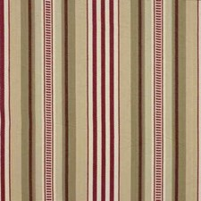 Red/Cream Stripes Drapery and Upholstery Fabric by Baker Lifestyle