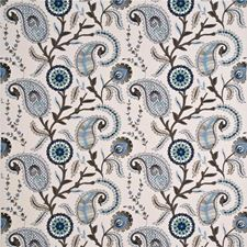Indigo/Stone/Aqua Embroidery Drapery and Upholstery Fabric by Baker Lifestyle