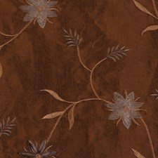 Chocolate Embroid Drapery and Upholstery Fabric by RM Coco