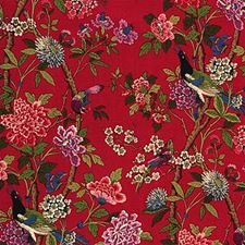 Red/Mauve Print Drapery and Upholstery Fabric by G P & J Baker